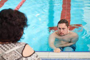 Lifeplan customer in pool