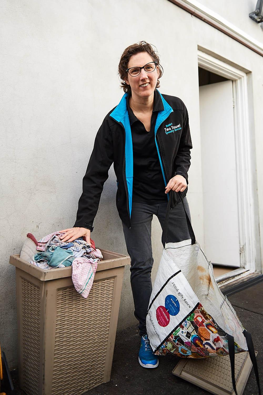 Lifeplan customer collecting tea towels